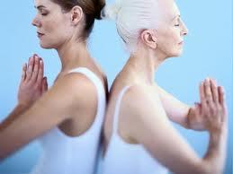 active senior in yoga class