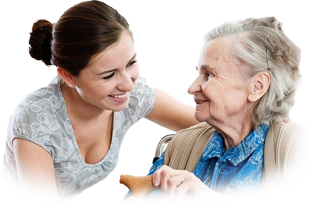 Health care professional smiling with elderly woman