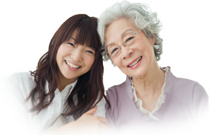 Daughter and mother senior care client